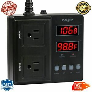 Temperature Controller Digital Outlet Thermostat Pre Wired Stage Heating Cooling