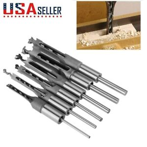 Pro 6pcs Square Hole Saw Drill Bit Mortising Chisel Drill Woodworking Tool Us