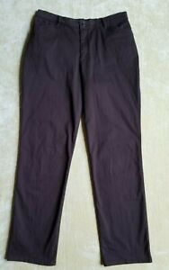 Lee All Day Pant Sz 12 Long Cotton Spandex Brown Belt Loops Stretchy Women Pants $11.95