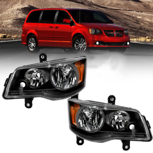 Headlights For 2011 2018 Dodge Grand Caravan 2008 2016 Town Amp Country Lr Black Fits 2011 Chrysler Town Amp Country
