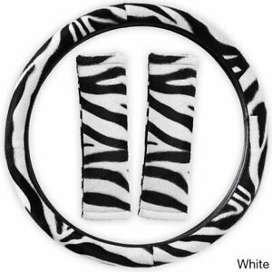 Zebra Print Steering Wheel Cover And Seat Belt Pads 3pc Set Universal Fit White