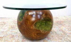 Mcm Decorator Solid Wood Sphere Green Epoxy Base Coffee Table Pls Rd