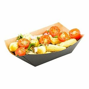 3 3 inch Disposable Paper Food Tray Black With Kraft Brown Interior Take Ou