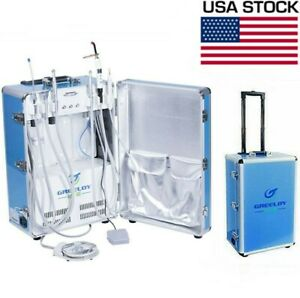 Us Stock Portable Dental Unit With Air Compressor Led Curing Light Scaler 4 Hole