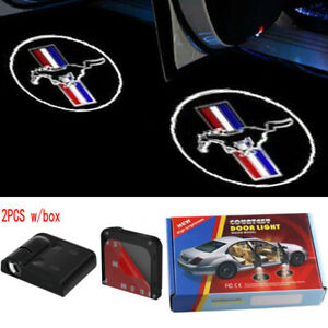 2pcs Wireless Led Courtesy Car Door Step Laser Welcome Ghost Lights For Mustang