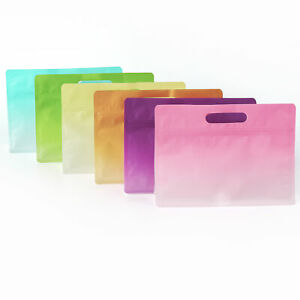Color Paper Kraft Favor Gift Bags With Zipper Lock Side Gussets And Flat Bottom