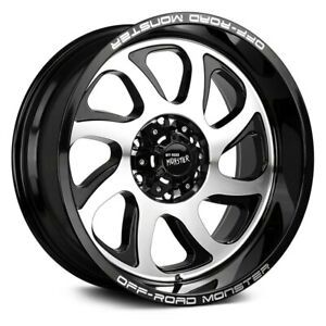 Off road Monster M22 Wheels 22x12 44 6x139 7 106 4 Black Rims Set Of 4