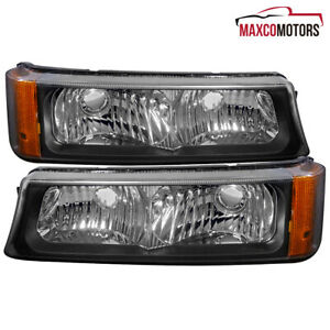 For 2003 2006 Chevy Silverado Avalanche Black Bumper Signal Parking Lights Pair
