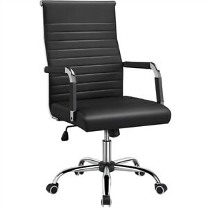 Pu Leather Office Chairs High Back Ribbed Executive Chair Task Chairs White