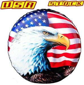 For Jeep Wrangler Liberty Trailer Spare Tire Cover 16 Eagle Usa Flag Waterproof