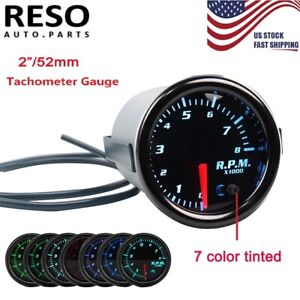 7 Color Tinted Pointer 2 52mm Tacho Gauge Car Tachometer Gauge Meter 0 8000 Rpm