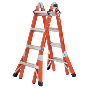 Multi purpose Fiberglass Ladder 18 Ft Reach Height With 300 Lbs Load Capacity