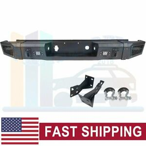 Offroad Textured Steel Rear Bumper Guard W Led Lights For 07 13 Chevy Silverado