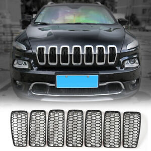 Front Grille Grill Inserts Mesh Trim Decor Cover For Jeep Cherokee 2014 18 Black