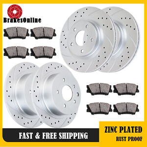 Drilled Slotted Brake Rotors Pads Front Rear Kit For Nissan Altima Brakes