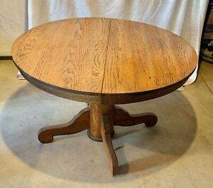 Vintage Round Oak Pedestal 42 Dining Table With 3 9 Inch Leaves