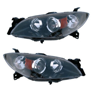 Halogen Headlights Front Lamps Pair Set For 04 09 Mazda 3 Left Right