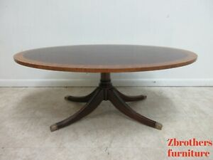 Ethan Allen Flame 18th Mahogany Oval Coffee Table Newport