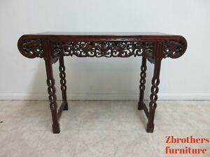Vintage Asian Rosewood Sofa Hall Foyer Table Console Server Chinoiserie