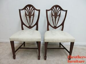 Pair Antique Mahogany Chippendale Shield Back Dining Room Side Chairs C