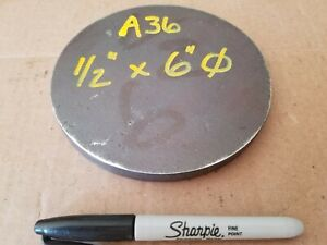 Steel Plate Round Disc 6 Diameter X 1 2 Thick A36 Lathe Stock
