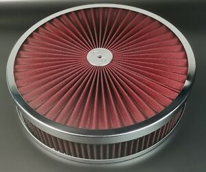 14x3 Round Super Flow Chrome 4bbl Washable Air Cleaner Assembly recessed Base