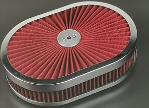 New 12 Super Flow Oval Air Cleaner Set With Washable Red Element Chrome Top
