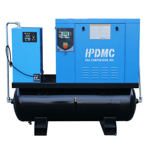 460v Rotary Screw Air Compressor 10 Hp 3 Phase W Dryer And 80 Gallon Asme Tank