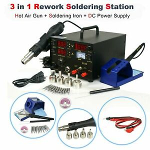 853d 3 in 1 Smd Rework Station Hot Air Gun Soldering Iron Dc Power Supply 800w