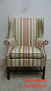 Vintage Southwood Striped Wing Back Lounge Living Room Chair