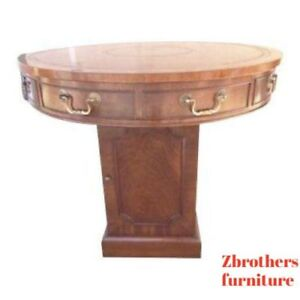 Smith Watson Georgian Mahogany Leather Top Drum End Table