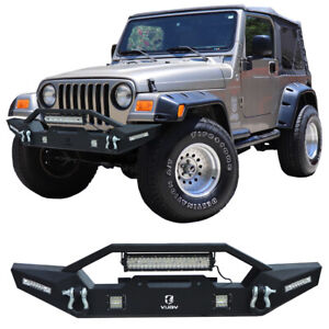 Front Bumper Fits 1997 2006 Jeep Wrangler Tj With Winch Seat Led Lights Steel