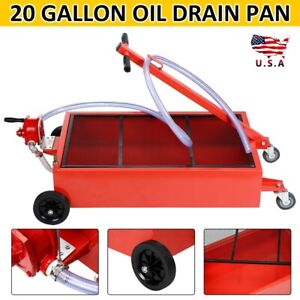 20 Gallon Low Profile Light Weight Truck Car Oil Drain Pan With Pump 4 Wheels