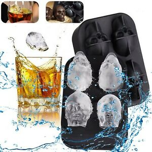 3d Skull Ice Cube Tray Silicone Round Ball Maker Sphere Mold Cocktails Whiskey