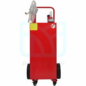 30 Gal Gas Caddy 8ft Hose Fuel Diesel Transfer Tank Rotary Pump Oil Container