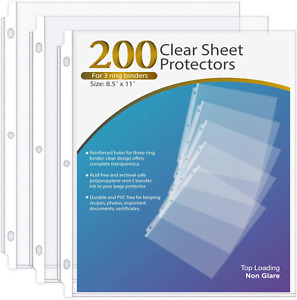 Sheet Protector 8 5 X 11 Inches Non glare Clear Page Protectors Plastic Sleeves