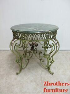 Antique Wrought Iron Marble Top Italian Regency Center End Table