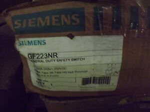 New Siemens Gf223nr 100 Amp 240v 1ph Fusible Safety Switch Disconnect 3r