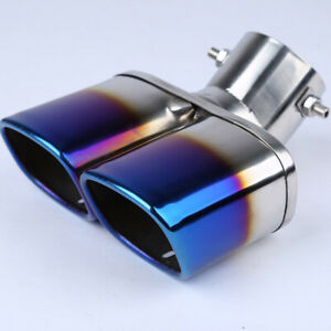 63mm 2 5 Stainless Steel Chrome Car Dual Exhaust Tip Square Tail Pipe Muffler