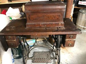Vtg Antique Industrial Iron Standard Treadle Sewing Machine Table Cabinet Base