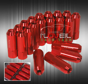 M12 X 1 5mm Wheel Rim Racing Tuner Lug Nuts 20 Pieces Long Extended Open End Red