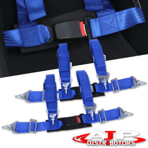 For Pair Of 4pt Harness Seat Belts With Buckle Blue Mazda Miata Protege 5 Pair