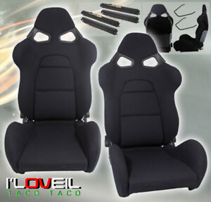 1 Pair Fully Reclainable Racing Black Cloth Seats Drag Time Attack With Sliders