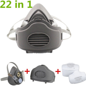 Safety Gas Mask Respirator Half Face For Painting Spraying Facepiece 21 Filters