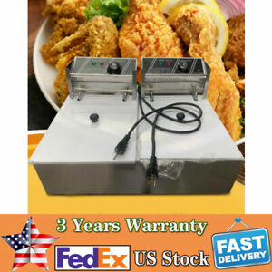 5000w 12l Stainsteel Electric Deep Fryer Dual Tank Commercial Home restaurant Us