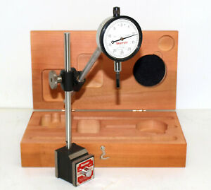 Starrett 657 ez Magnetic Base With 25 131j Dial Indicator And Wood Storage Case