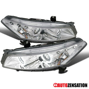 Fit 08 12 Honda Accord 2dr Coupe Chrome Halo Projector Led Drl Headlights
