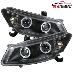 For 2008 2012 Honda Accord Coupe Black Led Drl Halo Projector Headlights Lamps