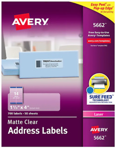 Avery Clear Easy Peel Address Labels 5662 Laser 1 1 3 X 4 700 box
