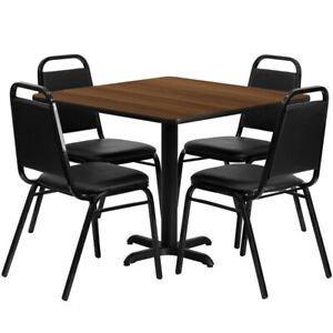 36 Square Walnut Laminate Table Set With 4 Black Trapezoidal Banquet Chairs